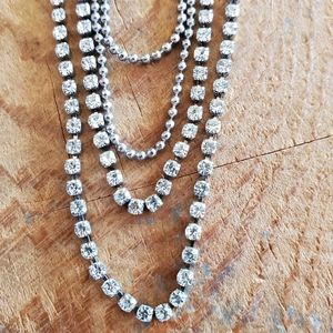 Multi chain crystal and silver long necklace